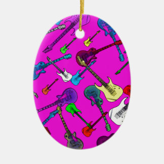 Raining Guitars Ceramic Ornament