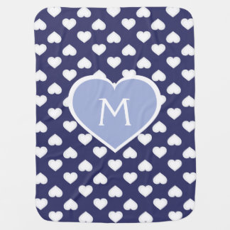 Raining Hearts and Monogram Heart - Blue and White Baby Blanket