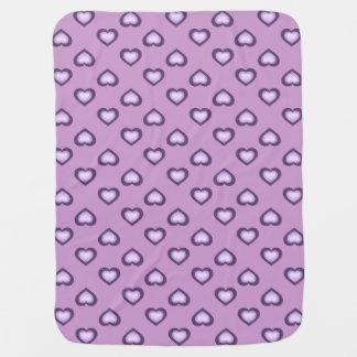 Raining Hearts: Lavender Purple on Purple Stroller Blanket