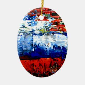Raining in Battersea Ceramic Oval Ornament