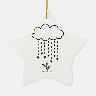 Raining love ceramic ornament
