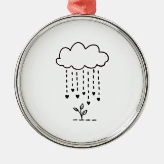 Raining love metal ornament