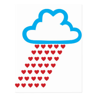 Raining Red Hearts Postcard