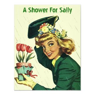 Raining Retro Shower Party Announcement Invitation