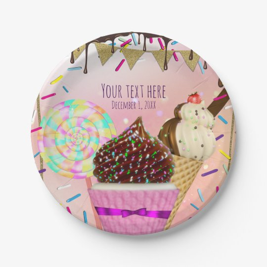 Raining Sprinkles Candy Land Sweets Party 7 Inch Paper Plate