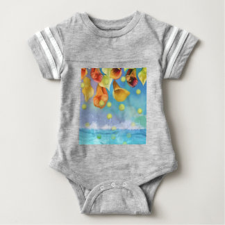 Raining tennis balls over the sea. baby bodysuit