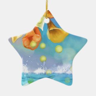 Raining tennis balls over the sea. ceramic ornament
