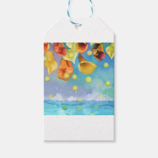 Raining tennis balls over the sea. gift tags