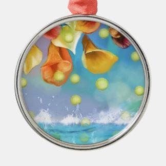 Raining tennis balls over the sea. metal ornament