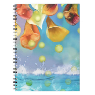 Raining tennis balls over the sea. notebooks