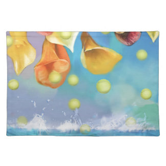 Raining tennis balls over the sea. placemat