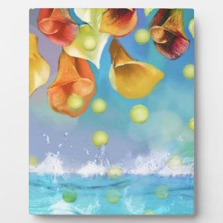 Raining tennis balls over the sea. plaque