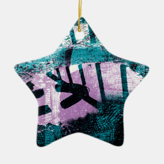 Rainwater puddle on an old  Dustbinlid Ceramic Star Ornament