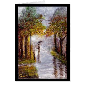 Rainy Autumn Day Scene, Lady with Umbrella Card