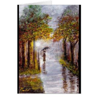 Rainy Autumn Day Scene, Lady with Umbrella Card
