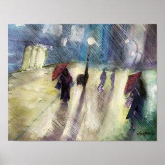Rainy Cityscape - Poster