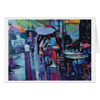 Rainy day at the cafe card