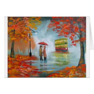 Rainy day autumn red umbrella tram painting card