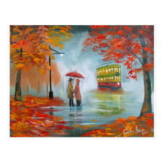 Rainy day autumn red umbrella tram painting postcard