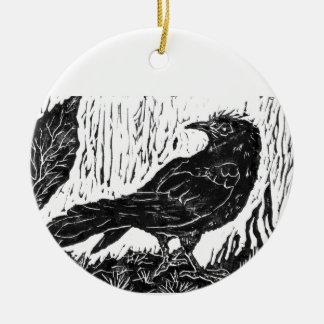 Rainy Day Crow -- block print Ceramic Ornament