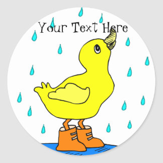 Rainy Day Duck in Orange Boots Stickers