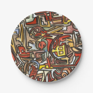 Rainy Day-Geometric Abstract Pattern Paper Plate