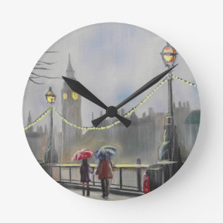 Rainy day in London couple with an umbrella Clocks