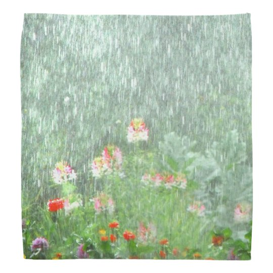 Rainy Day in Summer Flower Garden Bandana