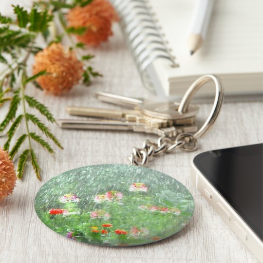 Rainy Day in the Flower Garden Keychain