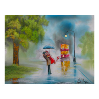 RAINY DAY KISSING COUPLE TRAM UMBRELLA POSTER