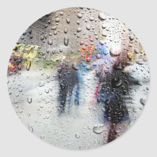 Rainy Day NYC Abstract Round Stickers