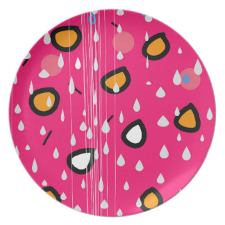 Rainy day - pink party plate