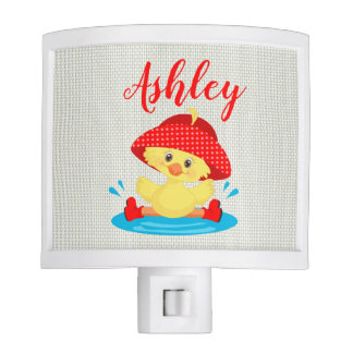 Rainy Day Puddle Duck Red Rain Hat Boots Baby Night Light