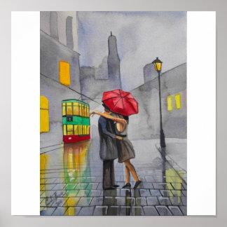 RAINY DAY RED UMBRELLA tram street scene PAINTING Poster