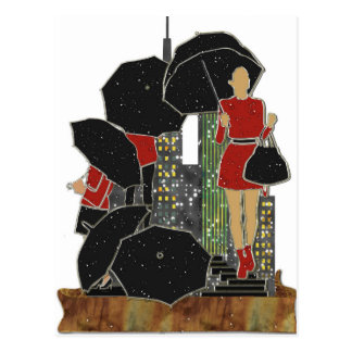 Rainy Day Women's Fashions Red Black Gray Print Postcard