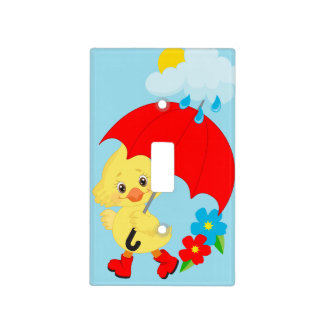 Rainy Day Yellow Duck Light Switch Cover