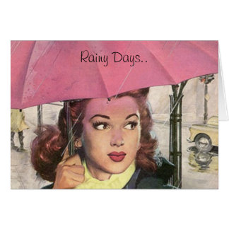 Rainy Days.. Require Pink Umbrellas! Retro Card