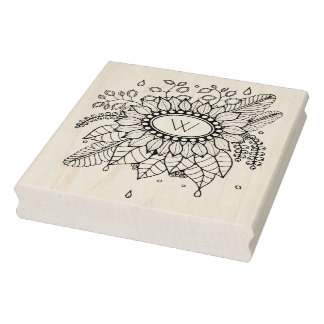 Rainy Floral Spray Rubber Stamp