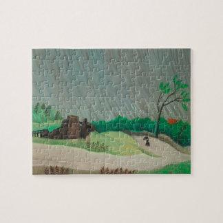 Rainy Morning Henri Rousseau, Vintage Fine Art Jigsaw Puzzle