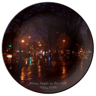 Rainy Night in the City NYC Collectors Plates Porcelain Plates