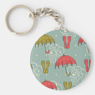 Rainy Season Umbrella Design Basic Round Button Keychain