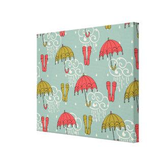 Rainy Season Umbrella Design Gallery Wrap Canvas