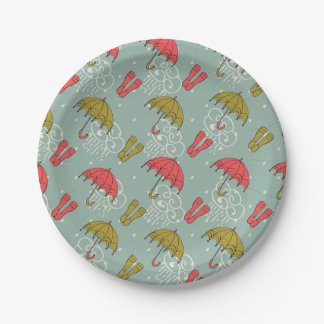 Rainy Season Umbrella Design Paper Plate