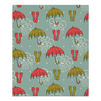 Rainy Season Umbrella Design Poster