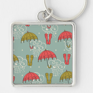 Rainy Season Umbrella Design Silver-Colored Square Keychain
