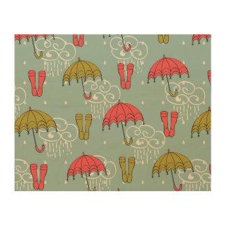 Rainy Season Umbrella Design Wood Print
