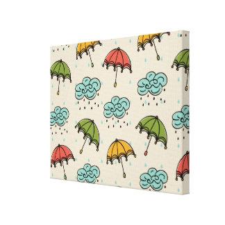Rainy Water drops and Umbrellas Canvas Print