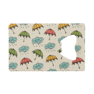 Rainy Water drops and Umbrellas Credit Card Bottle Opener