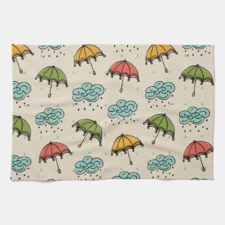 Rainy Water drops and Umbrellas Kitchen Towel