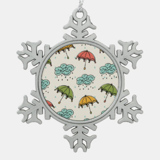 Rainy Water drops and Umbrellas Pewter Snowflake Ornament